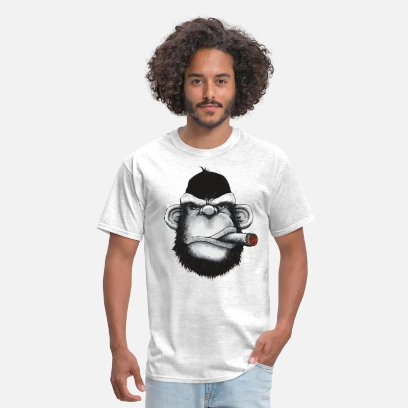 Ape T-Shirts - Gorilla Smoking Cigar - Men's T-Shirt light heather grey