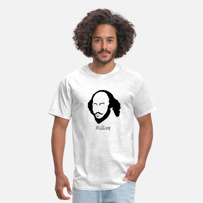 Quote T-Shirts - William Shakespeare Silhouette & Hirsute - Men's T-Shirt light heather grey