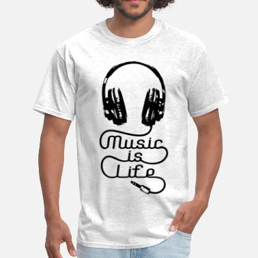 Music Is Life Music Is Life Headphones - Men's T-Shirt
