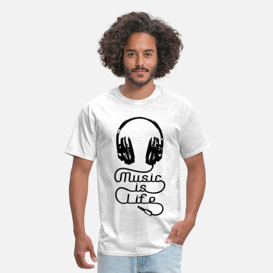 Music T-Shirts - Music Is Life Headphones - Men's T-Shirt light heather grey