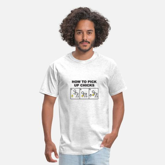 Funny T-Shirts - How To Pick Up Chicks - Men's T-Shirt light heather grey