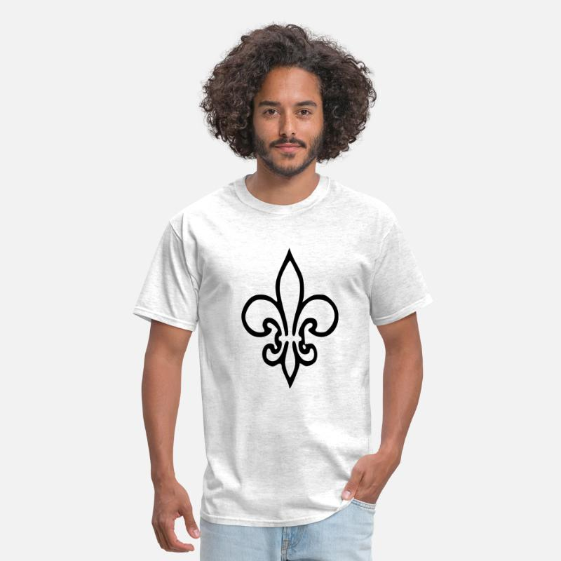 Quebec T-Shirts - Iris Lily - Flower . Fleur - Quebec - Symbol - Men's T-Shirt light heather grey