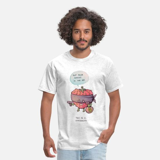 Strawberry T-Shirts - Funny robbery pun - Men's T-Shirt light heather grey
