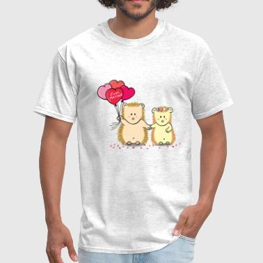 hedgehog couple with heart balloons - Men's T-Shirt