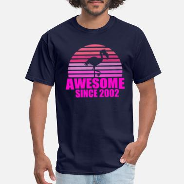 2002 flamingo awesome since 2002 17th birthday - Men's T-Shirt