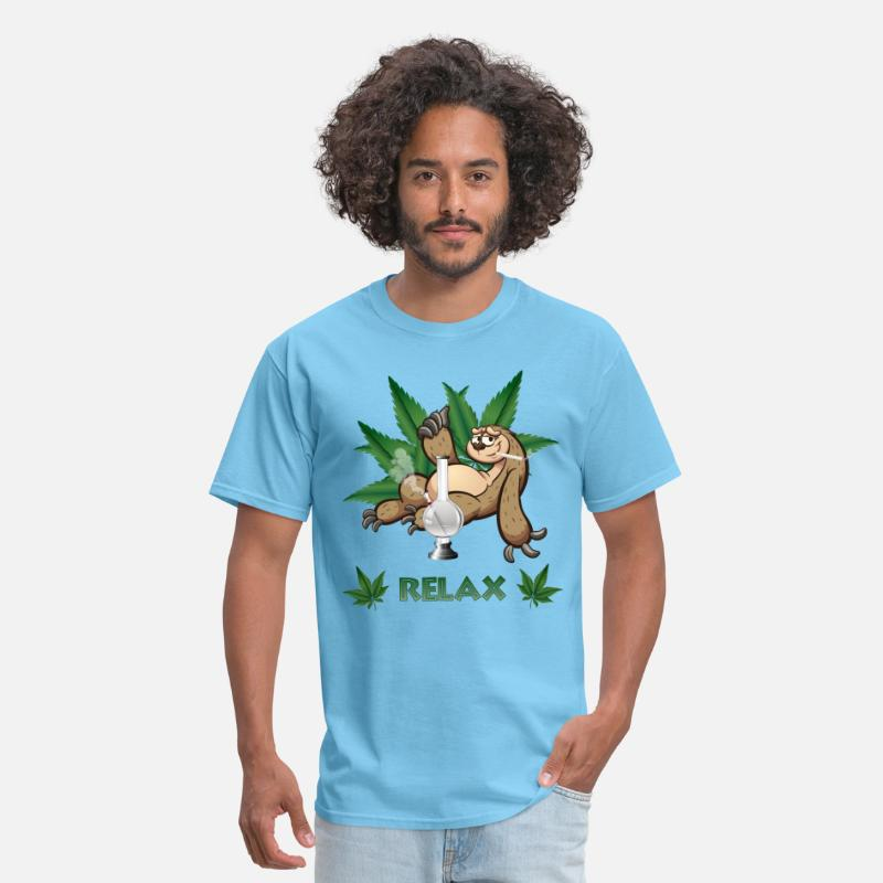 Kiffendes Faultier mit Bong /& Joint Herren T-Shirt