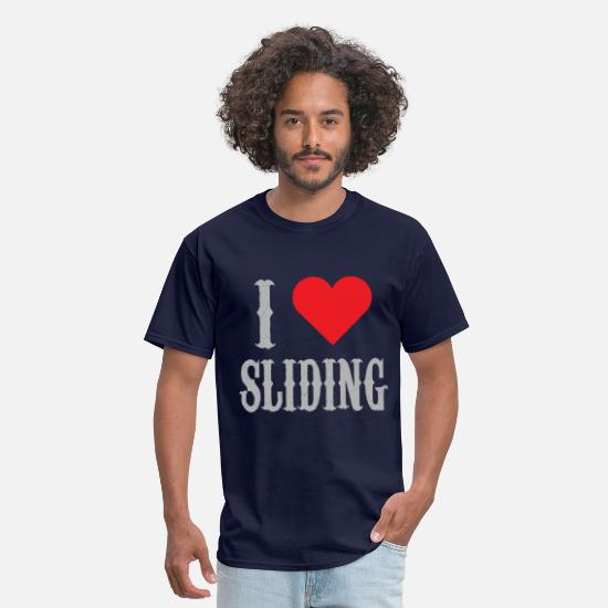 Love T-Shirts - I Love Sliding Western Riding Reining Horse - Men's T-Shirt navy