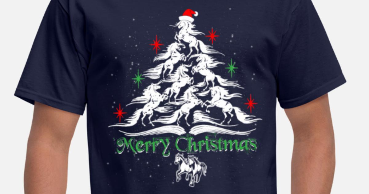 Merry Standard Unisex T-shirt Horse Christmas Tree