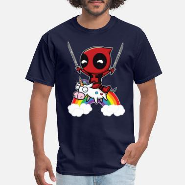Deadpool Deadpool Riding Unicorn - Men's T-Shirt