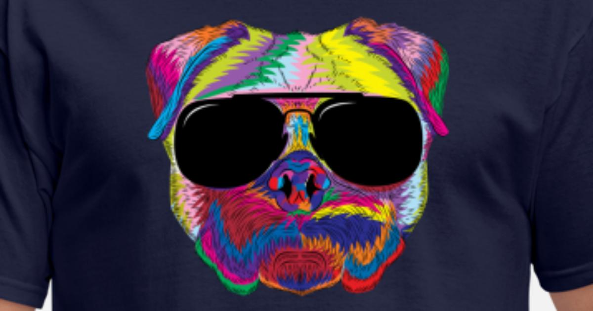 Psychedelic Pug Dog Face With Sunglasses By Phoxy Design Spreadshirt