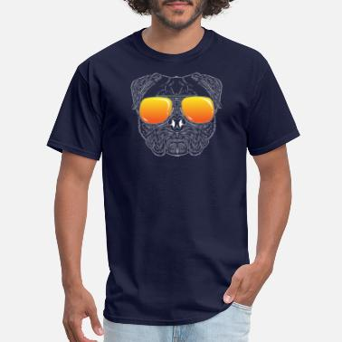 Face Pug Dog Hairy Face with Sunset Sunglasses Hand - Men's T-Shirt