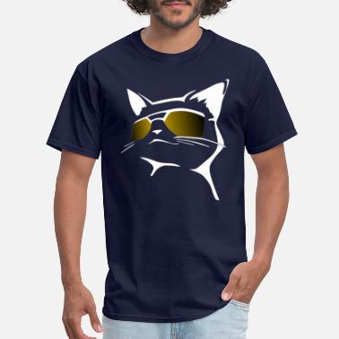 Cat Lover Cool Cat and Golden Sunglasses Cat Lover Gift Idea - Men's T-Shirt