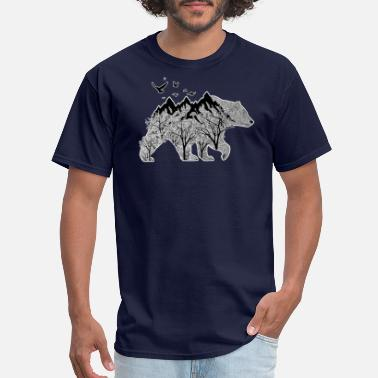 Mountain Bear Bear Nature Outdoor Mountain Woods Black&White Art - Men's T-Shirt