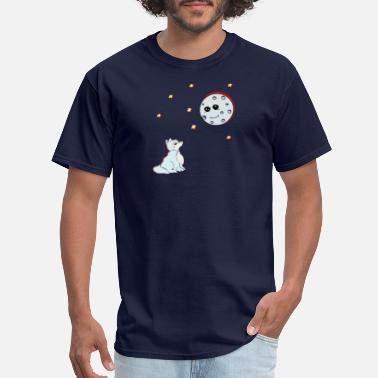 Moon Wolf Dog Comic Moon Planet Full Moon Gift - Men's T-Shirt