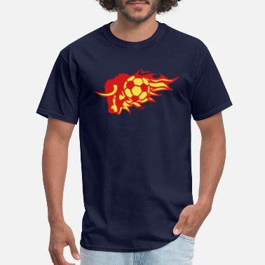 Flames soccer flame fire bull logo animal 3026 - Men's T-Shirt
