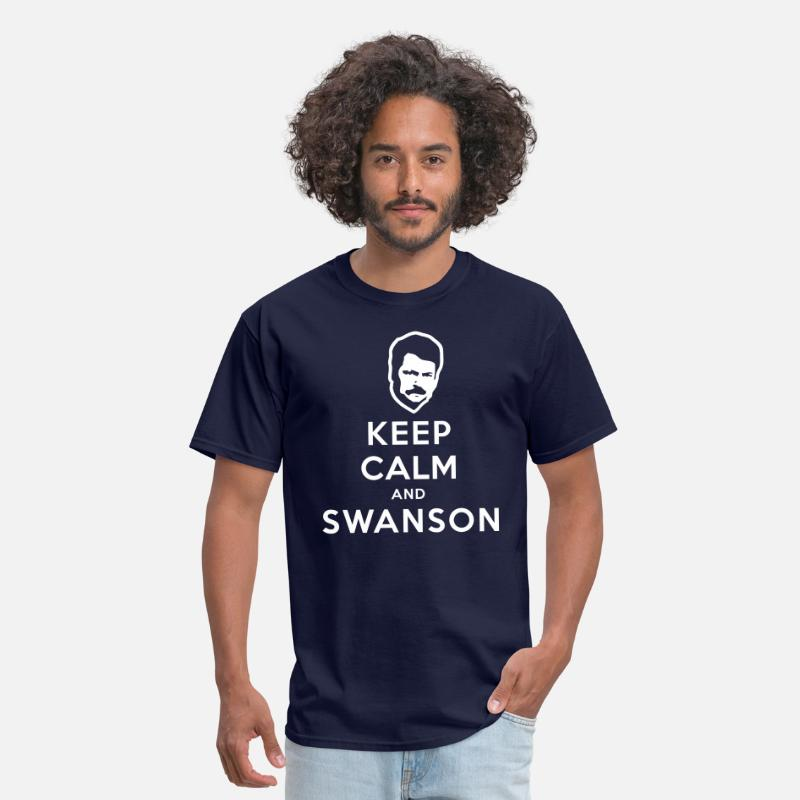 Calm T-Shirts - Keep Calm and Swanson Men's Humor - Men's T-Shirt navy