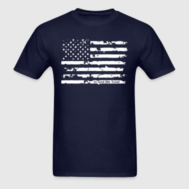 American Flag t shirt with In God We Trust - Men's T-Shirt