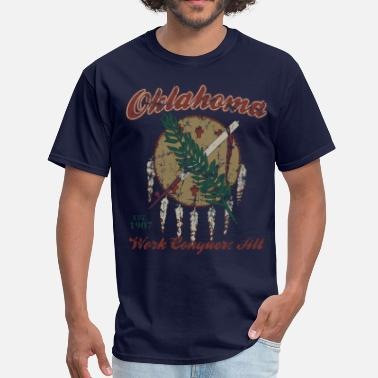 Oklahoma Vintage Oklahoma Work Conquers All - Men's T-Shirt