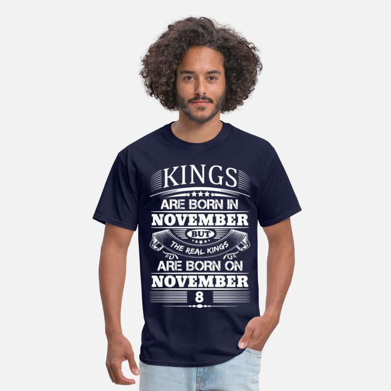 November T-Shirts - Real Kings Are Born On November 8 - Men's T-Shirt navy