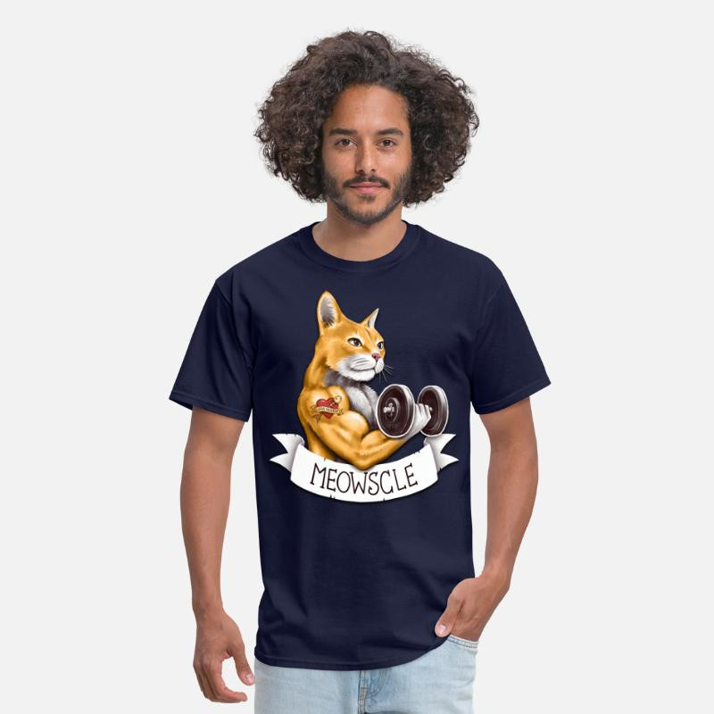 Lifting T-Shirts - Meowscle - Men's T-Shirt navy