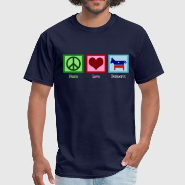 Red Democrat Peace Love Democrat - Men's T-Shirt