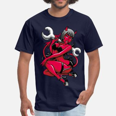 Sex Motor Devil Pin-Up Girl with Big Wrench - Men's T-Shirt