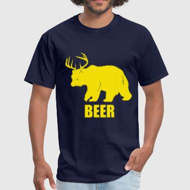 Bear Deer Beer Funny Design - Men's T-Shirt