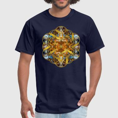 Decorative Gemstone Sacred Geometry Flower of life - Men's T-Shirt