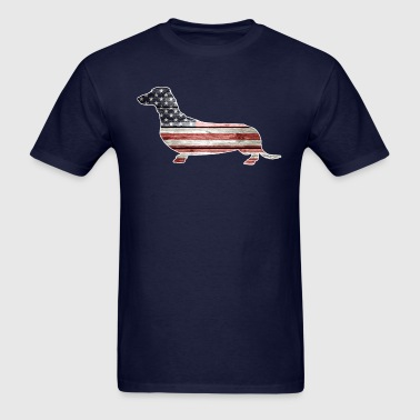 Patriotic Dachshund, American Flag - Men's T-Shirt
