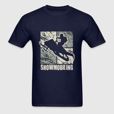 Snowmobile Rider Cubism - Men's T-Shirt