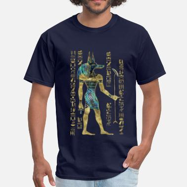 Anubis Egyptian Anubis Ornament Gold and Abalone - Men's T-Shirt