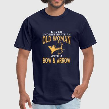 funny An Old Woman With A Bow & Arrow - Men's T-Shirt
