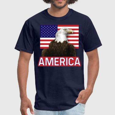 America Flag & Bald Eagle - Men's T-Shirt