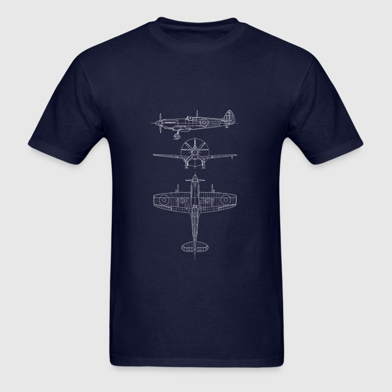 Spitfire airplane blueprint - Men's T-Shirt