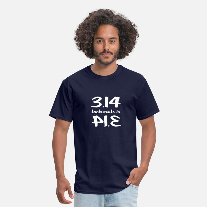 Funny T-Shirts - 3.14 Backwards is PIE - Men's T-Shirt navy