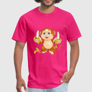 Monkey Cartoon chipmunk with bananas - Men's T-Shirt