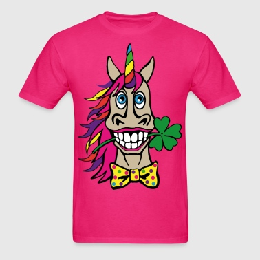 Unicorn Face Lucky clover Rainbow Fantasy Animal - Men's T-Shirt