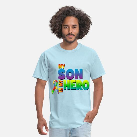 Autism T-Shirts - Autism Awareness My Son Is My Hero - Men's T-Shirt powder blue