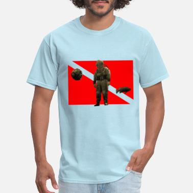 Vintage Diver with Diving Helmet and Flag - Men's T-Shirt
