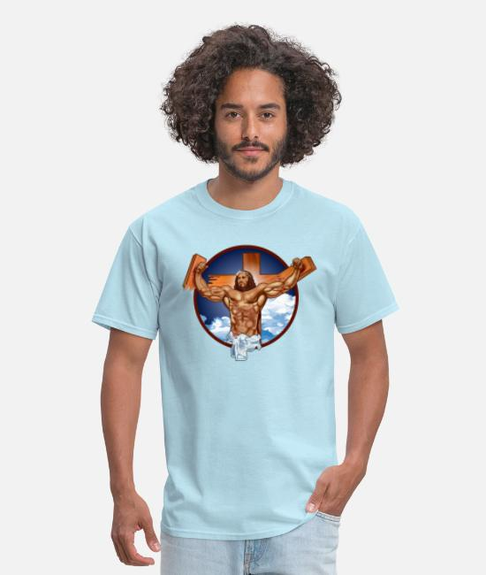 Funny Jesus T-Shirts - Come at me bro jesus - Men's T-Shirt powder blue