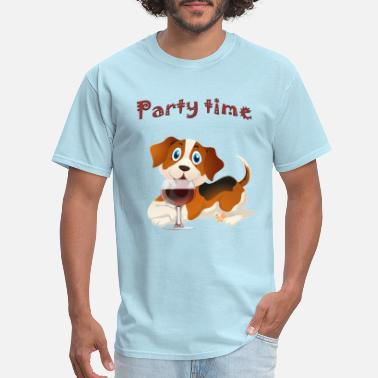 Red Dog Beer Party time beagle dog red wine glass - Men's T-Shirt