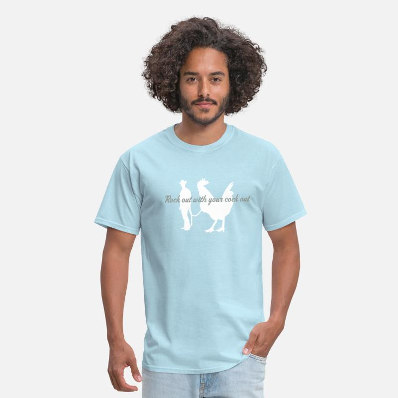 Fun T-Shirts - rock out with your cock out - Men's T-Shirt powder blue