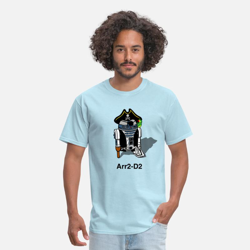 Funny T-Shirts - Pirate Droid Arr2-D2 - Men's T-Shirt powder blue