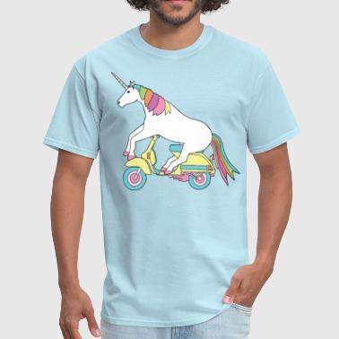 unicorn riding motor scooter - Men's T-Shirt