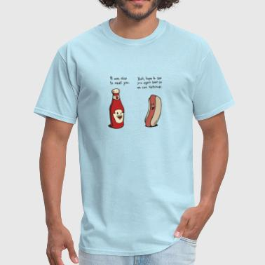 Food Funny ketchup and hotdog conversation - Men's T-Shirt