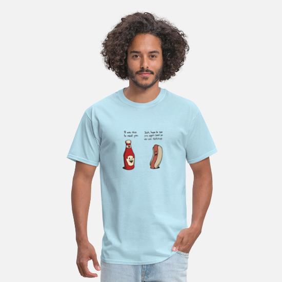2b90d4557 Funny T-Shirts - Funny ketchup and hotdog conversation - Men's T-Shirt  powder