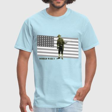 Doughboy Vintage World War I US Doughboy Soldier with Rifle - Men's T-Shirt