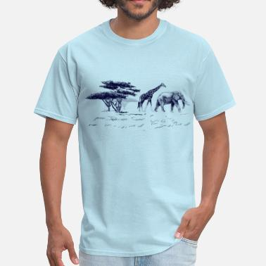 Blackwhitecontest illustration of the african landscape - Men's T-Shirt