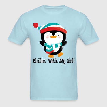 Penguin Couples Chillin With My Girl - Men's T-Shirt