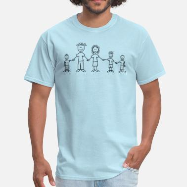 Stick Family doodle_family_with_3_boys_1c - Men's T-Shirt